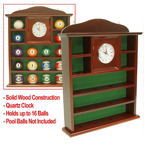 Best Prices! Trademark Ball Holder Quartz Clock With Solid Wood Billard Ball Holder, Brown