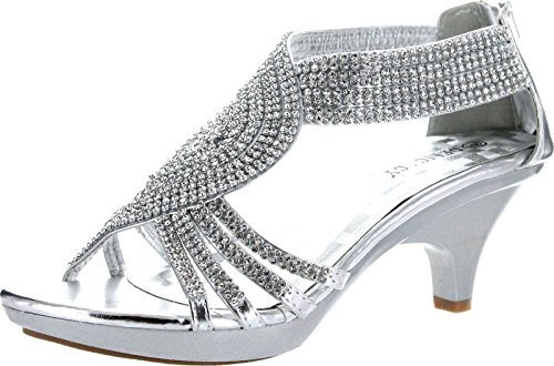 V-Luxury Womens 32-ANGEL37 Open Toe Med Heel Wedding Sandal Shoes