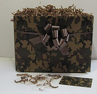 Camo Box Gift Set with Gift Tag, Bow and Paper Shreds