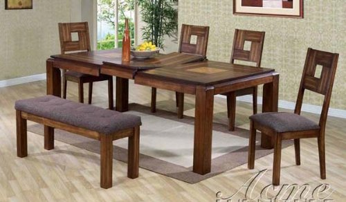 6Pc Dining Table, Chairs And Bench Set In Cherry Finish