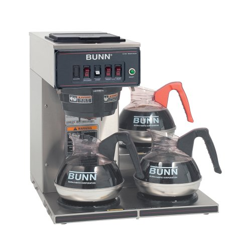 Bunn 12950.0112 CWT-3 Automatic Commercial Coffee Brewer with 3 Lower Warmers
