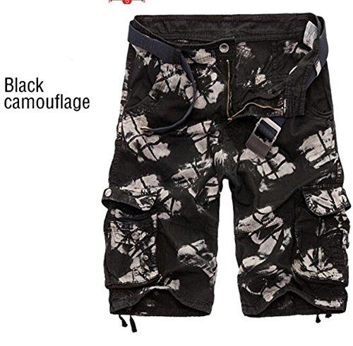 GG Camo sciolto pantaloncini. maschile con cinque divisioni con i pantaloni , black camouflage , 38