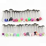 Lot of 30 Assorted Labret Lip Bar Chin Lip Rings Piercing 1.2mm Surgical Steel 16 Guage Body Jewelry