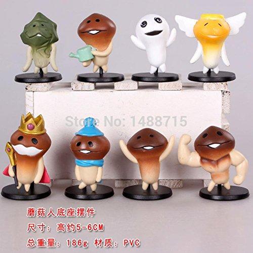 [8pcs Touch Detective Mushroom Men Funghi Rise of the Fungi 6CM Figure Figurine Key Chain] (One Up Mushroom Costume)