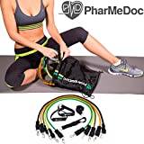 PharMeDoc Workout Bands - Fitness Equipment - 12 Piece Set, 5 Exercise Bands, 1 Door Anchor, Ankle Straps, Handles , Exercise Guide Chart and a High Quality Backpack Carry Bag -Exercise Equipment - Home Gym - Build Muscle and Strength