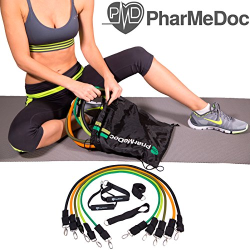 PharMeDoc Workout Bands – Fitness Equipment – 12 Piece Set, 5 Exercise Bands, 1 Door Anchor, Ankle Straps, Handles , Exercise Guide Chart and a High Quality Backpack Carry Bag -Exercise Equipment – Home Gym – Build Muscle and Strength