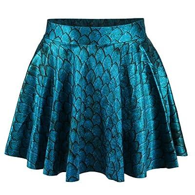 Weixinbuy Women's 3D Printed Pleated Short Skirt High Waist Flared Mini Dress