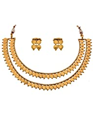 JFL - Magnificent Mahalaxmi Coin One Gram Gold Plated Designer Necklace / Jewellery Set With Earring For Women