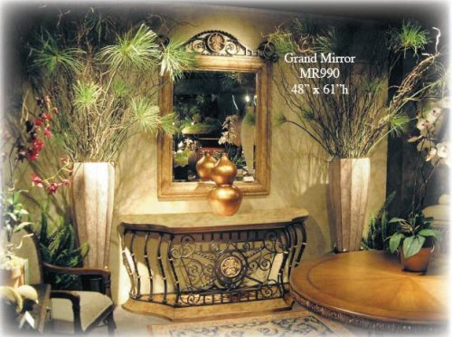 Cheap Grand Console Table & Mirror Set handcrafted in Wood, Iron & Stone (B000TXO2JS)