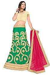 Pushty Fashion Green and Pink net Embroidered Lehenga