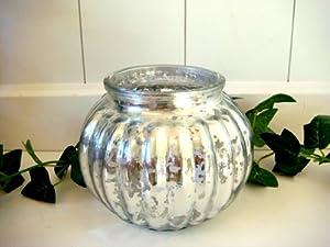 windlicht aus glas rund teelichthalter kugelwindlicht silber x mas weihnachten deko 13 5cm. Black Bedroom Furniture Sets. Home Design Ideas