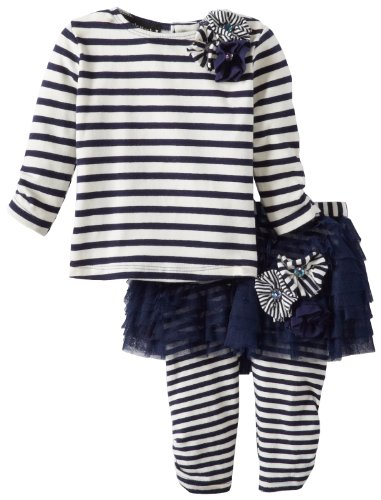 Today Sale Kate Mack Baby-Girls Newborn Poodle In Paris Tee and Tutu Legging, Navy Blue, 9 Months