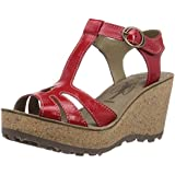 Fly London Gold Leather, Women's Wedge Heel Sandals