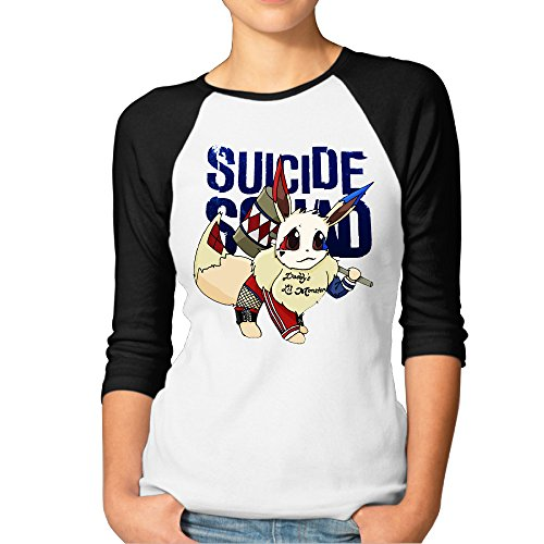Print3/4SleeveRaglan Lady Antimicrobic Tees With Pokemon Suicide Squad