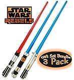 Star Wars Rebels Darth Vader Lightsaber, Anakin Skywalker Lightsaber & Obi-Wan Kenobi Lightsaber Toys Gift Set Bundle - 3 Pack