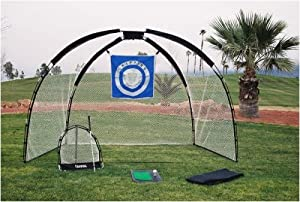 3 in 1 Golf Practice Set Mat Driving Net Chipping Net and Bag by Ajillis