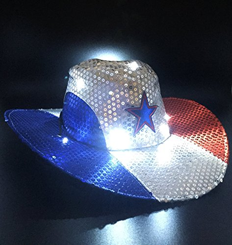 GIFTEXPRESS Light Up Patriotic Cowboy Hat/Patriotic Sequin C