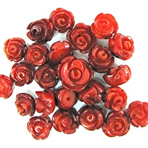 4 8mm coral carved rose flower pendant bead red