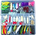 Fishing Lure Kit Freshwater with a Free Tackle Box (A Set of 133 Pcs)sharp Hooks and Various Fishing Tackle,hard and Soft Plastic Lures Baits,spoon Lures,topwater Frog for Bass and More