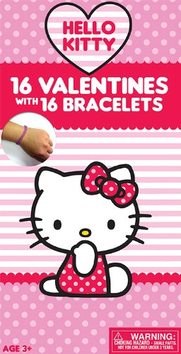 Paper Magic Hello Kitty Deluxe Valentine Exchange Cards with Bonus Bracelet (16 Count) - 1