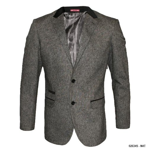 Mens Voeut Charcoal Slim Fit Fashion Coat N4T Size Size 46