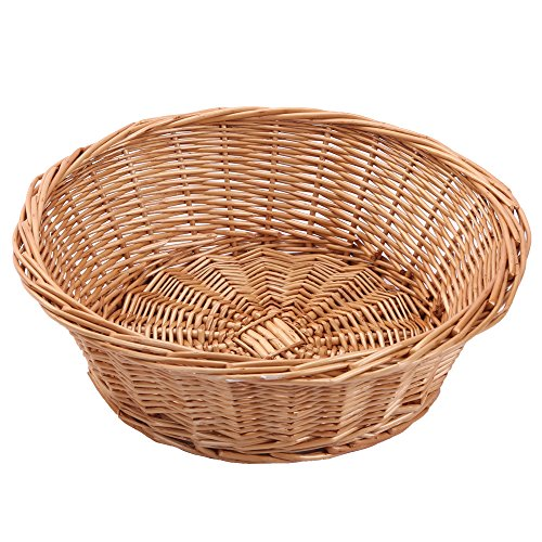 Kingwillow, Wicker Basket Fruit Basket Bread Tray Storage Basket, Fruit bowl, Round Stackable Basket, Light weight , 2 Pieces. (Wooden Bread Tray compare prices)