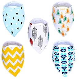 Raniaco 5 Pack Baby Bandana Bibs for Drooling and Teething - Unisex Washable Drool Bibs Gift Set for Newborns or Toddlers