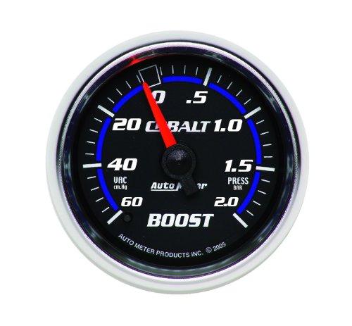 "Auto Meter 6103-M Cobalt 2-1/16"" 60 Cm/Hg-2.0 Bars Mechanical Vacuum/Boost Gauge"