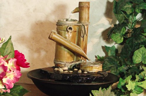 Alpine Eternity Bamboo Slide Tabletop Fountain