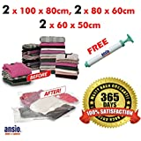ANSIO® Set of 6 - 2 Large (100x80cm), 2 Medium (80x60cm) & 2 Small (60 x 50cm) Vacuum Compressed Space Saver Storage Bags.*** FREE Vacuum Screw Pump ***