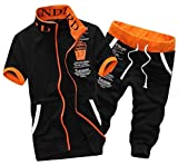 (モノア) Monoa プリント デザイン が かっこいい スポーツ スウェット 半袖 七分丈 パンツ 上下セット メンズ カジュアル スエット ダンス ウエア 部屋着 ジャージ / ブラック ホワイト グレー ネイビー (4 カラー ) XL ブラック