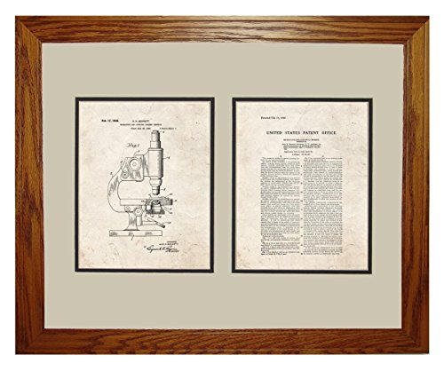 """Microscope And Counting Chamber Patent Art Old Look Print In A Honey Red Oak Wood Frame (16"""" X 20"""")"""