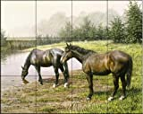 Horses At The Pond by Ian Nathan Tile Mural for Kitchen Backsplash Bathroom Wall Tile Mural