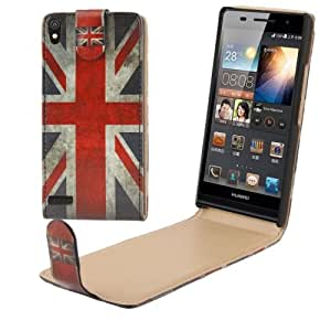 Retro UK Flag Pattern Vertical Flip Leather Case for Huawei Ascend P6