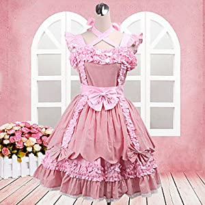 JJE Lovely Princess Sleeveless Knee-length Pink Cotton Sweet Lolita Dress , XL