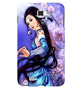 Printvisa A Girl In A Blue Dress Back Case Cover for Samsung Galaxy Note 2::Samsung Galaxy Note 2 N7100