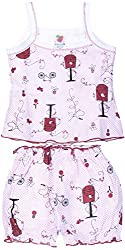 Amy Baby Girls' Dress (K40_1_12-18 Months, Maroon, 12-18 Months) - Special Offer with Free Delivery - 100% Cotton Exclusive Kidswear