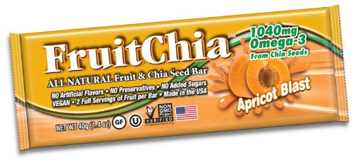 Fruitchia Apricot Chia Bar - 288 Bars - All Natural / Real Fruit & Chia Seed Bar With Omega-3 Healthy, Tasty & Certified Gluten-Free, Vegan, Non-Gmo & Kosher All Fruit Grown & Bar Made In The Usa, In Our Wa Facilty!