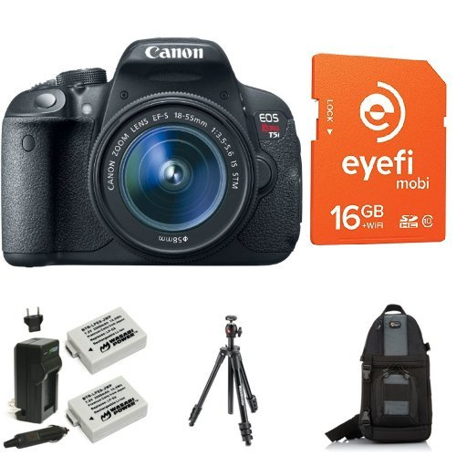 Canon EOS Rebel T5i Digital SLR with 18-55mm STM Lens + Eye-Fi Memory Card, Bag, Battery and Lens Filters