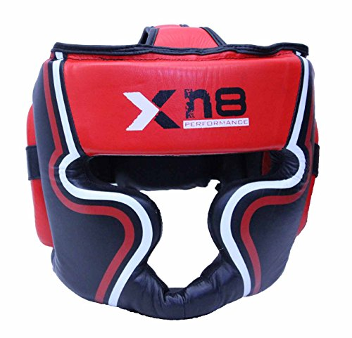 xn8-leather-boxing-head-guard-red-black-helmet-no-impact-gel-padding-mma-head-protection-large