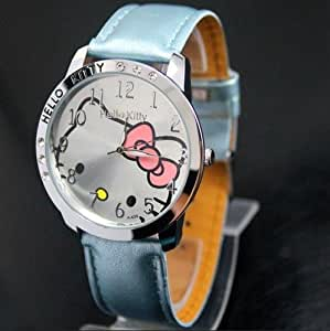 Hello Kitty Large Face Quartz Watch - Light Blue Band + Hello Kitty Pouch & Extra Battery