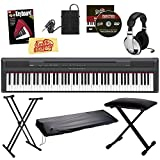 Yamaha P105B 88-Key Digital Piano Bundle with Bench, Stand, Dust Cover, Sustain Pedal, Headphones, Instructional Book, and Polishing Cloth