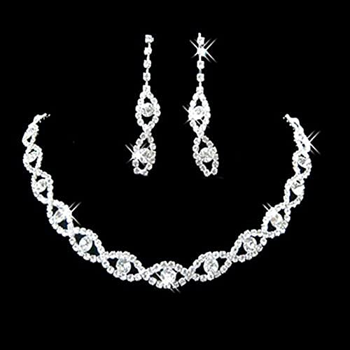 Women's Crystal Diamante Twisted Necklace Drop Earrings Jewelry Set for Wedding Party