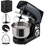 VonShef Stand Mixer, 6-QT, 1200W, Black - Silicone Beater, Balloon Whisk, Dough Hook, Dust Cover & Splash Guard