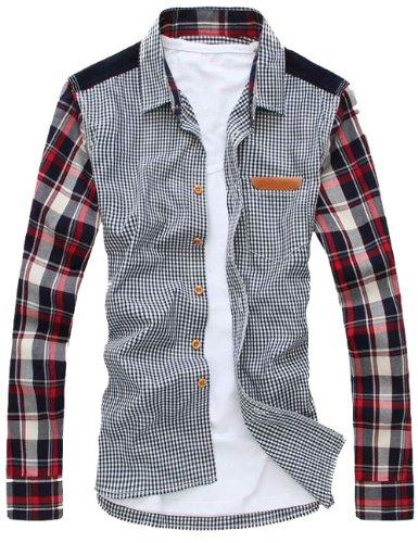 Sslr Men'S Fall Cotton Slim Fit Long Sleeve Casual Shirt Color Blue Size M