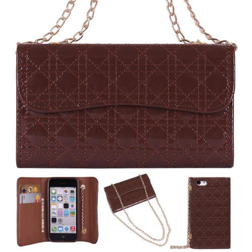 Stylish Quilted Patent Leatherette Wallet Wristlet Purse Clutch / Cross Body Case Cover For Apple Iphone 5C - Brown