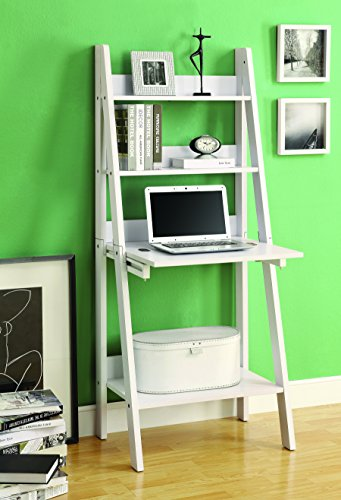 White Ladder Desk & Bookcase Combination With Flip Down Desk front-62342