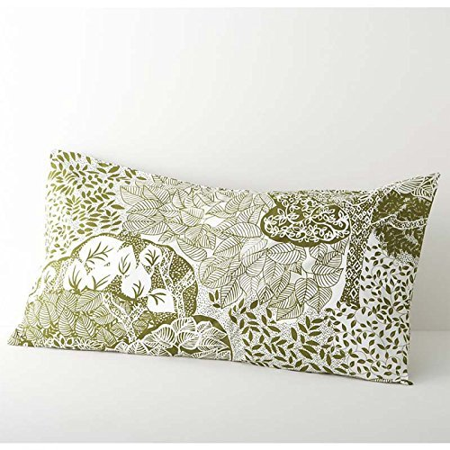 Crate & Barrel Marimekko Eden Standard Or King Pillowcase Sage Green, Creamy White (Standard) front-634826