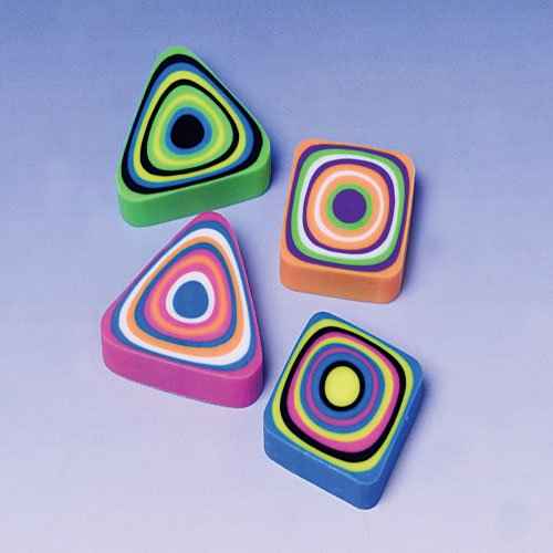 Lot Of 12 Assorted Swirl Design Mini Erasers