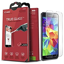 iCarez [Tempered Glass] Screen Protector for Samsung Galaxy S5 (not for S7) Anti Scratch Premium [1-Pack, 0.33mm 9H, 2.5D] Easy Install with Lifetime Replacement Warranty- Retail Packaging